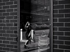 Everyday #Adelaide No. 312 (Autumn/Winter) (michellerobinson.photography) Tags: snapseed life 4tografie everydayadelaide southaustralia fujifilm adelaide streetphotographer australia blackandwhite moments monochrome capturinglife streetphotography everydayaustralia bw michellerobinson editedonipadair2 people michmutters xt10 documentary reflection window woman glass rushing