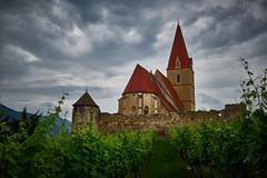 a early morning in Wachau (CHCaptures) Tags: sky green church clouds austria vineyard kirche himmel wolken grn wachau weingarten weintrauben wehrkirche weinreben weisenkirchen sonyilce7 sel2470z