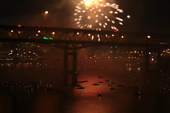 Tilikum Crossing (Tony Pulokas) Tags: tilikumcrossing portland oregon summer night river stream willametteriver boat bridge marquambridge hawthornebridge fireworks reflection tilt blur bokeh motionblur july4 i5 interstate5