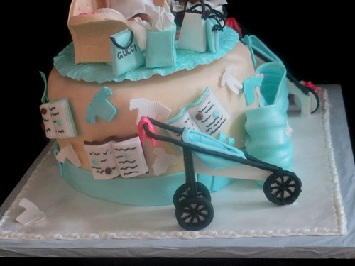 Baby Shower Cake Side Books Clothes Stroller