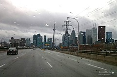 Toronto Thunderstorms (Tomitheos) Tags: road street toronto highway cntower raindrops windshield gta thunderstorms gardinerexpressway weatherforecast firstcanadianplace scotiatower drivingintherain urbancapture tomitheosphotography
