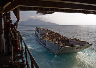 LCU-1633 exits USS Tortuga in the South China Sea.
