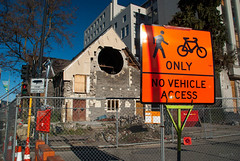 Walking and Biking Only (Jocey K) Tags: road door trees newzealand signs building tree church architecture shadows fences cbd rubble roadcones earthquakedamage manchesterst christchruch