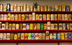 99 cans of beer on the wall (Photosuze) Tags: beer restaurant display patterns drinking collection drinks alcohol repetition variety beverages lager beercans brews aluminumcans cansonthewall
