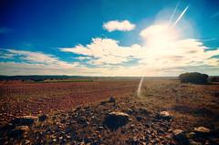 Lone (lazyworks) Tags: blue sky sun rocks alone desert 5d mkiii