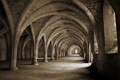 Fountains Abbey Cloisters (Nala Rewop) Tags: blackandwhite abbey architecture nt arches nationaltrust cloisters yorkshiredales simplysuperb