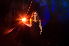 Witchcraft (Katherine Velours Witch With Lightpainting), Shrubhill Common (flatworldsedge) Tags: wood blue trees light portrait test orange mist lightpainting fog forest dark painting witch smoke magic experiment katherine haunted led torch flashlight common starburst strega smokebomb velours shrubhill vision:night=088 vision:sunset=063 vision:people=099 vision:face=099