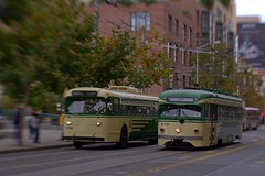 SF Muni Heritage Celebration - 110313 - 10 (Stan-the-Rocker) Tags: sf sanfrancisco bus lensbaby sony muni embarcadero streetcars nex stantherocker 2015msrcalendar