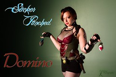 Sucker Punched: Domino Title Card (FightGuy Photography) Tags: woman gun bra goggles fishnet redhead chain weapon shorts grenade abbi redbra suckerpunched union206 fightguyphotography
