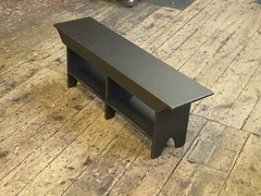 bench with shelf (Mitchell J Rudman ...... High Falls Furniture Co.) Tags: black bench paint furniture finish distressed paited