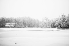 blanket (ewitsoe) Tags: morning autumn trees sky blackandwhite bw white house lake snow cold ice water monochrome forest 35mm seaso