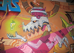 SPRAYSOUNDkram (kram_bcn) Tags: streetart wall graffiti saturno mataro eledu kram turkesa spraysound