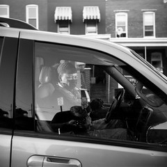 (patrickjoust) Tags: auto lighting street city portrait people urban bw woman usa white black reflection 120 6x6 tlr blancoynegro film home me analog america square lens person us reflex md focus automobile fuji mechanical cigarette united north patrick twin maryland baltimore vehicle medium format states manual van 80 joust hampden develop estados superricohflex blancetnoir unidos schwarzundweiss fujifilmneopan100acros autaut patrickjoust developedinxtol11