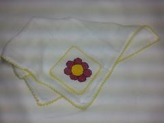 Fralda de Boca - Flor Rosa F012 (SaluArts) Tags: de pano cruz infantil beb boca ponto paninho fralda fraldinha enxoval