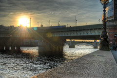 Sun of a Bridge (ray_anthony) Tags: city bridge sunset sun london water lamp beautiful thames river nikon awesome streetphotography flare riverthames citycentre hdr highdynamicrange photomatix hdrphotography