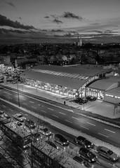 Modern Regensburg (mripp) Tags: city light urban white black germany bayern deutschland bavaria mono evening traffic nacht stadt monochrom regensburg verkehr ratisbonne