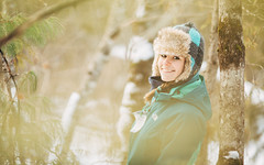 (233/365) Through the Trees (Chexjc) Tags: new york winter portrait woman cold girl hat canon project outdoors eos woods snowshoeing f2 365 coles 135mm 6d 135l queensbury f2l