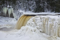 winter, tahquamenon falls, michigan (twurdemann) Tags: longexposure winter snow cold ice nature water landscape waterfall scenery unitedstates michigan scenic gorge upperpeninsula icicles icesculpture tahquamenonfalls frozenwaterfall northernmichigan thebrink tahquamenonriver lucecounty tannin hiawathanationalforest 2seconds neutraldensityfilter nikcolorefex tonalcontrast viveza glamourglow hoyandx16 detailextractor fujixe1 xf14mm