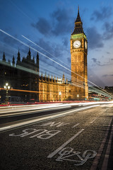 Trails on Westminster (Guic_Photographies) Tags: road trip bridge blue sky bus london clock westminster bicycle night big ben sony united trails kingdom lane photographies guic a7s