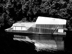 (electricgecko) Tags: hamburg monochrome mobile iphone houseboat architecture canals canal reflection steel stealth