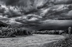 Approaching Storm, Squamish River (martincarlisle) Tags: trees sky blackandwhite water monochrome weather clouds rocks hills rivers storms toned squamish brackendale nwn squamishriver approachingstorm tonedblackandwhite governmentroad pentaxians tamronlenses pentaxart pentaxk5