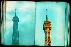 once upon a tower... (1crzqbn) Tags: eiffeltower lensbaby dof blue paris sky city old textures architecture monument thanksforthenotesflickr 1crzqbn