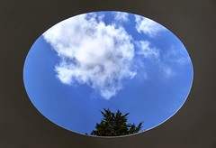 The sky is the limit (PeterThoeny) Tags: sanfrancisco california sky cloud tree art window deyoungmuseum museum circle raw fav50 indoor ceiling jamesturrell round opening deyoung hdr oval photomatix 1xp threegems nex6 selp1650