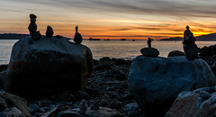 Stone Friends (Sworldguy) Tags: ocean sunset sky tourism beach vancouver skyscape landscape nikon rocks harbour sigma wideangle sunsetbeach englishbay balance stacking dslr rockart tankers d7000