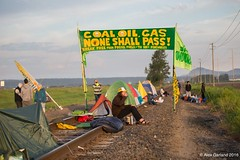 small entrance to rail track blockade at Break Free PNW 2016 photo taken by Alex Garland img_2283 (Backbone Campaign) Tags: water justice washington energy kayak break action politics protest creative paddle shell free social demonstration oil change wa environment activism anacortes campaign pnw refinery climatechange climate tesoro artful backbone renewable refineries 2016 kayaktivist kayaktivism breakfreepnw