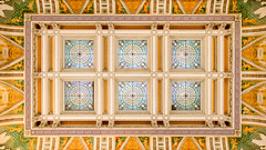 Library of Congress Pano #2 (josullivan.59) Tags: travel wallpaper panorama orange usa detail history texture geometric yellow architecture dc washington pattern unitedstates interior symmetry ceiling april historical libraryofcongress 2016 3exp disctrictofcolumbia canon6d