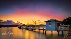Palm Beach Ferry Wharf Panorama (Simon Pratley) Tags: longexposure sunset sky water landscape sydney australia wharf palmbeach pittwater ferrywharf