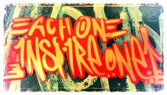 """""""EACH ONE - INSPIRE ONE"""" (www.InspireCollective.com) Tags: red inspiration streetart art typography gold one graffiti words sticker tel aviv letters stickers east quotes artists arrows positive language middle inspire each statements positivity inspireme inspireyourself"""