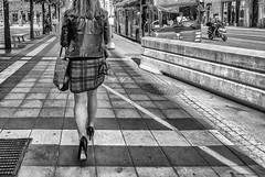 Friends are more important than money.. (Dale Michelsohn) Tags: street city blackandwhite woman canon walking legs sweden stockholm monotone g5x dalemichelsohn