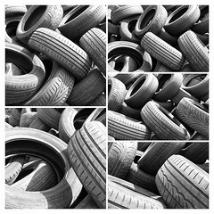 Retread (Phil W Shirley) Tags: bw collage mono tires used worn trad stacked tyres 52weeksthe2016edition week202016 weekstartingfridaymay132016