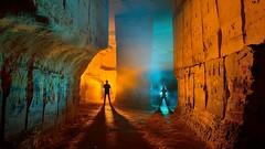 Warm up (palateth) Tags: blue orange lightpainting night underground belgium belgique belgie urbanexploration quarry ig urbex lightart