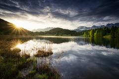 bavarian sunrise (Dennis_F) Tags: mountain lake mountains alps sunrise germany landscape bavaria mirror spring garmisch karwendel gerold garmi geroldsee