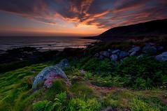 Gwenver sunset (Tractorboy1981) Tags: uk sunset sea england sky southwest beach grass rock clouds landscape coast moss sand cornwall vivid wideangle thrift hdr sennen kernow gwenver d7100