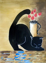 Black cat, by Cacá - DSC02966 (Dona Minúcia) Tags: black flower cute art animal cat watercolor painting paper amigo friend arte flor preto study gato vase fofo pintura aquarela gracinha