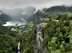 Geiranger (Imthearsonist) Tags: mountains green tourism nature norway landscape waterfall cloudy hiking sightseeing fjord geiranger