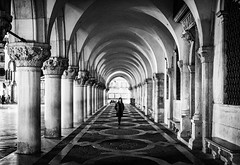Alone in the Dark (Petricor Photography) Tags: street venice blackandwhite italy white black photography candid gothic perspective and venezia