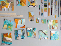 small collage pieces (Carolyn Saxby) Tags: inspiration collage paper design paint cornwall colours mixedmedia salt shapes wax stives inspiring acrylics textileart oilpastel textileartist carolynsaxby designsfortextiles