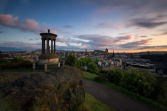 The Sky Divided (Kyoshi Masamune) Tags: edinburgh edinburghcastle newtown oldtown uk scotland kyoshimasamune dugaldstewartmonument longexposure balmoralhotel balmoralclock ultrawideangle wideangle cityscape sunset clouds cloudscape zomeind1000 zomei caltonhill