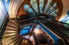 Rich in History (danielacon15) Tags: blue building glass architecture spectacular colorful sydney australia historic stained indoors staircase elegant qvb queenvictoria 2016 federationromanesquerevivalstyle