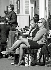 Terrace talk (Dutch_Chewbacca) Tags: life street city girls people bw netherlands canon eos women candid citylife sigma streetlife denbosch brabant noordbrabant urband duketown