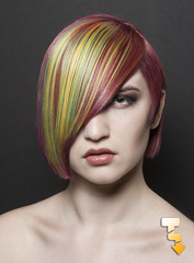 Hair by Nick Moore-Perez (Tony Lowe Photo) Tags: show pink portrait color green eye beauty face make up yellow hair nude one model neon metro michigan contest detroit makeup competition tony professional national cover short multiple bone approved lime southeast collar simple asymmetrical multi lowe covering