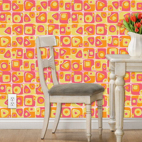 mod sushi wallpaer (yellow, pink, orange)