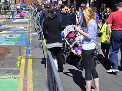 Chalk on the Walk (AntyDiluvian) Tags: cambridge woman streetart color art girl festival boston chalk mural artist drawing massachusetts harvard blonde harvardsquare churchstreet mayfair massave massachusettsavenue streetfestival chalkonthewalk chalkinthewalk