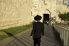 (Caitlin H. Faw) Tags: light boy shadow people man color hat stone canon fence walking religious eos israel gate jerusalem crowd young may jewish 5d walls oldcity tzitzit strolling yerushalayim markiii jaffagate tallit 2013 caitlinfaw caitlinfawphotography