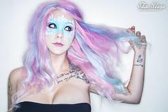 Face Paint (Edwin Hallows Blaque) Tags: nikon tattoos nikkor facepaint pinkhair bluehair purplehair rainbowhair tattooedmodel edwinhallowsblaque brandeenicoleashes