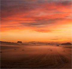 Beckhampton Squared (Chris Beard - Images) Tags: uk mist misty sunrise landscape dawn farmland september fields wiltshire strawbales mists beckhampton